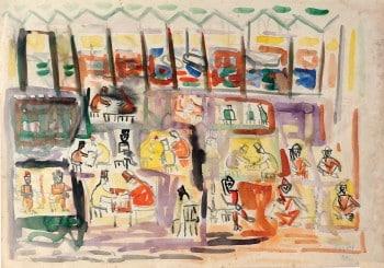 """אבשלום עוקשי, """"דמויות בשוק"""", אקוורל על נייר, 70x50 ס""""מ."""