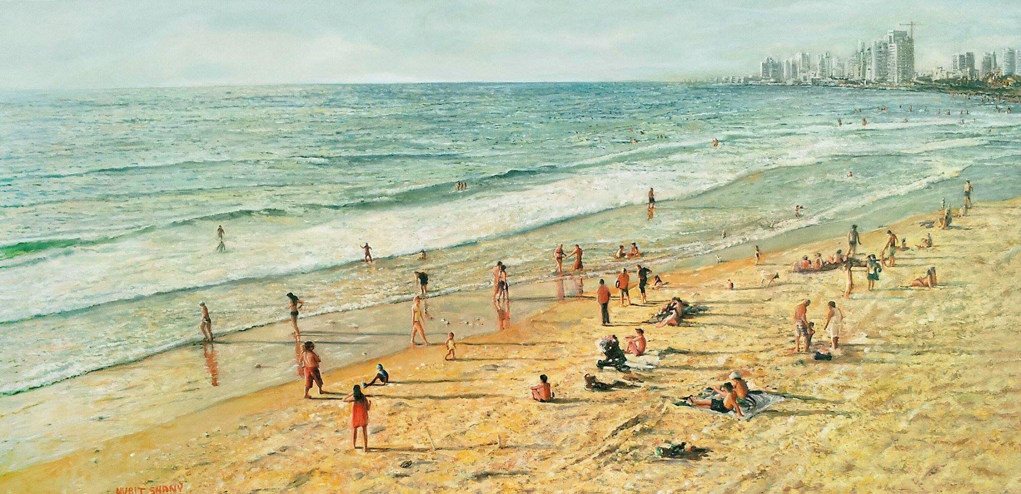 """נורית שני, """"חוף תל אביב"""", שמן על בד, 110x60 ס""""מ"""