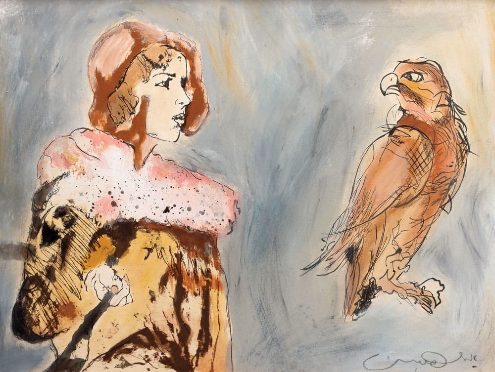 """אורי ליפשיץ, """"אישה וציפור"""", שמן וטכניקה מעורבת על קרטון, 65x55 ס""""מ"""