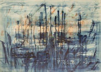 """יוסף קוסונוגי, """"נוף ימי"""", 1960, אקוורל על נייר, 70x50 ס""""מ"""