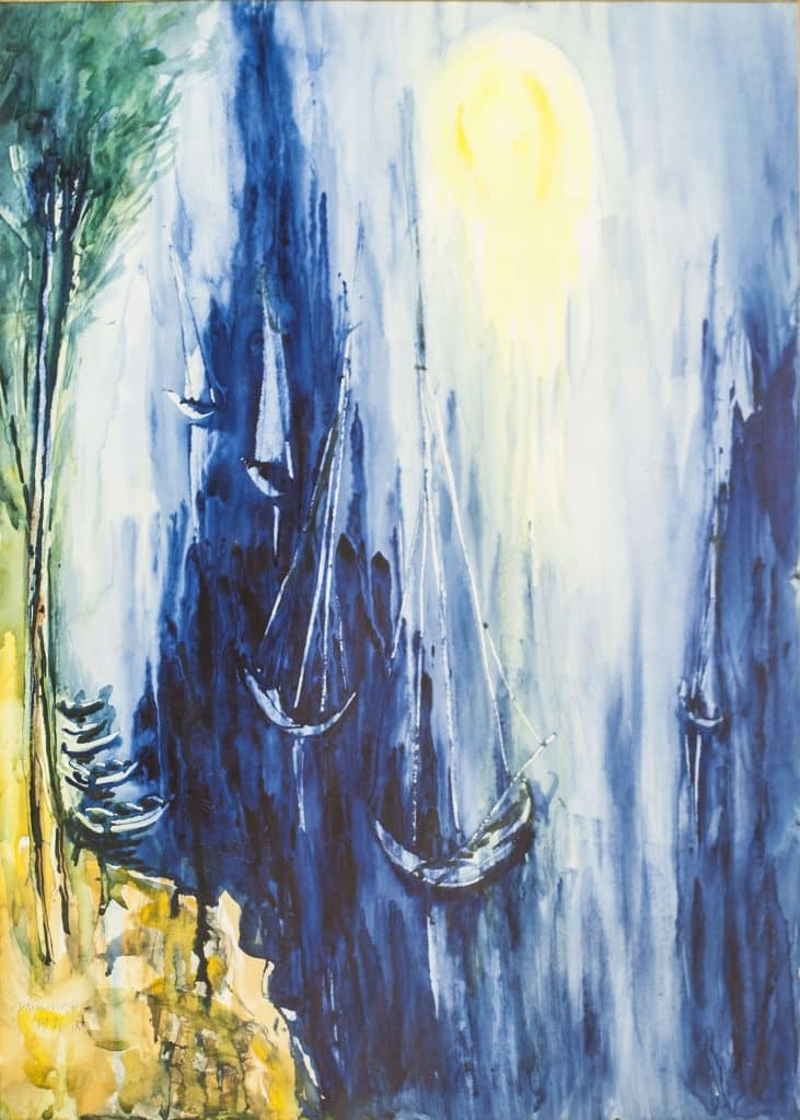 """יוסף קוסונוגי, """"סירות"""", 1976, אקוורל על נייר, 50x70 ס""""מ"""