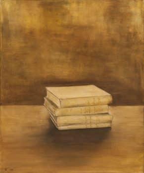"""הדר גד, """"ארבעה כרכים של ביאליק"""", 2001, שמן על בד, 50x60 ס""""מ"""
