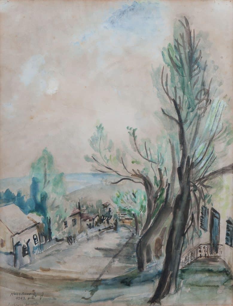 """יוסף קוסונוגי, """"זכרון יעקב"""", 1943, אקוורל על נייר, 50x34 ס""""מ"""