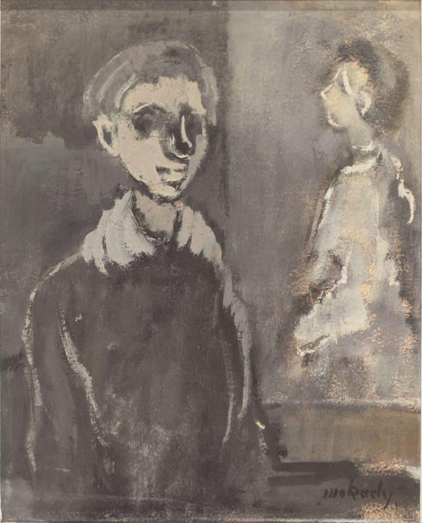 """משה מוקדי, """"דמויות"""", 1935, שמן על קרטון, 25x31 ס""""מ"""