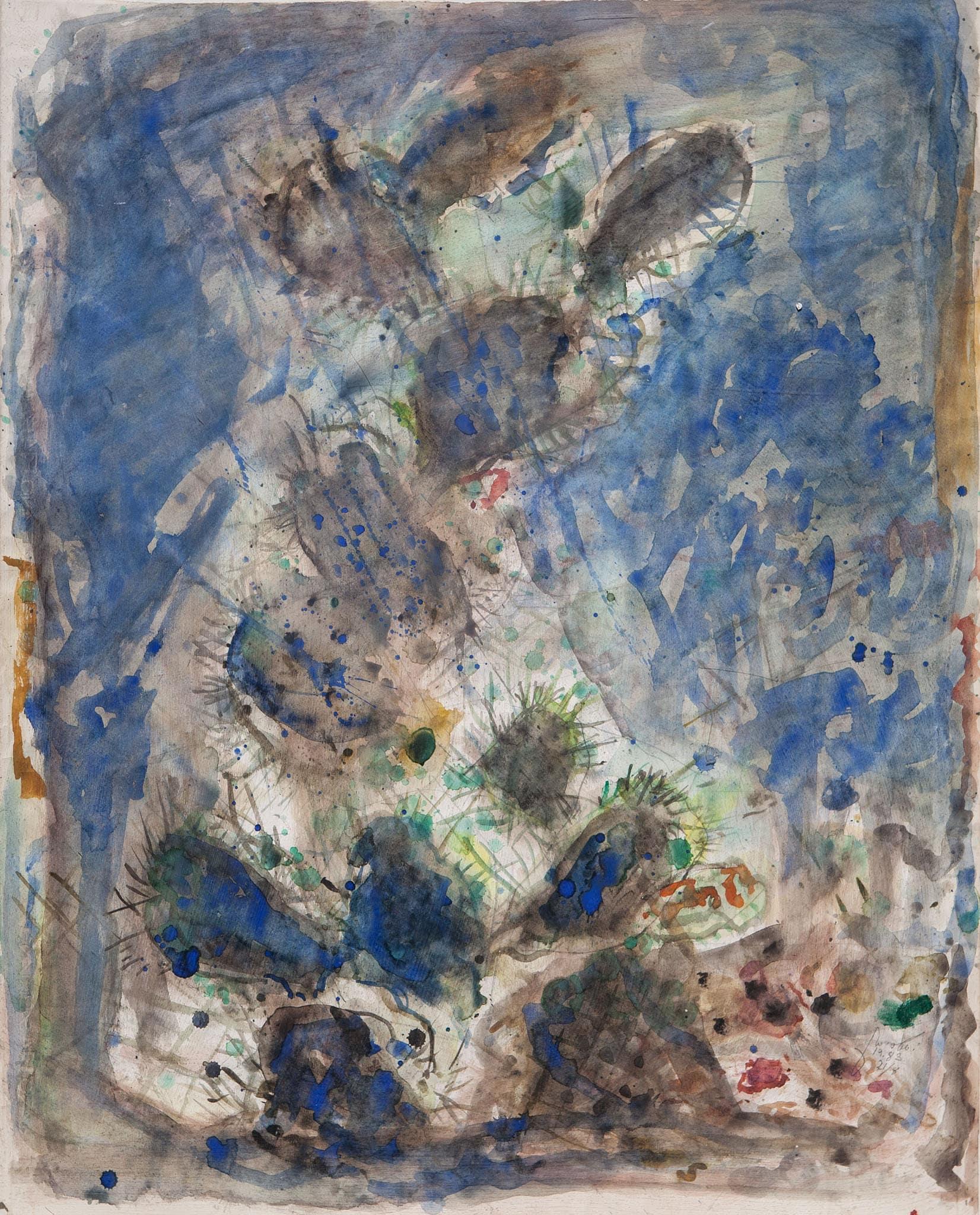 """""""קקטוס"""", 1983, אקוורל ועיפרון על נייר, 75x93 ס""""מ"""