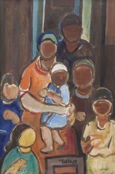 """אהרון גלעדי, """"משפחה"""", שמן על בד, 53x80 ס""""מ"""
