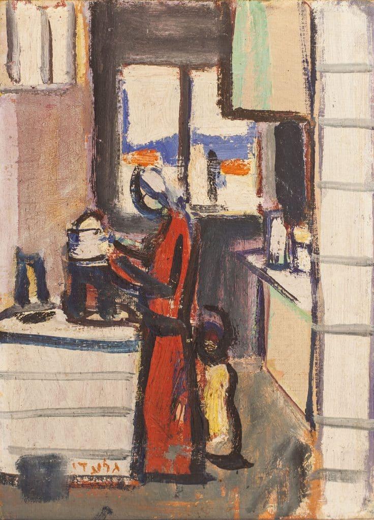 """אהרון גלעדי, """"אם וילד במטבח"""", שמן על לוח עץ, 23x32 ס""""מ"""
