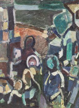 """אהרון גלעדי, """"משפחה"""", שמן על בד, 53x73 ס""""מ"""