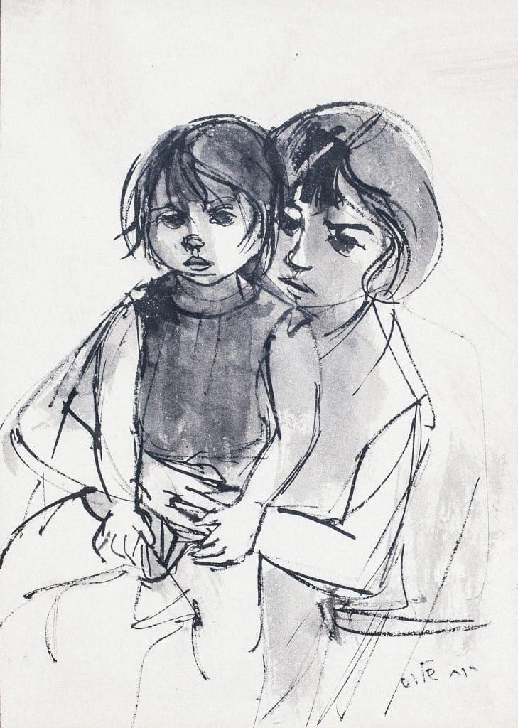"""רות שלוס, """"אם וילדה"""", אקוורל ודיו על נייר, 31x45 ס""""מ"""
