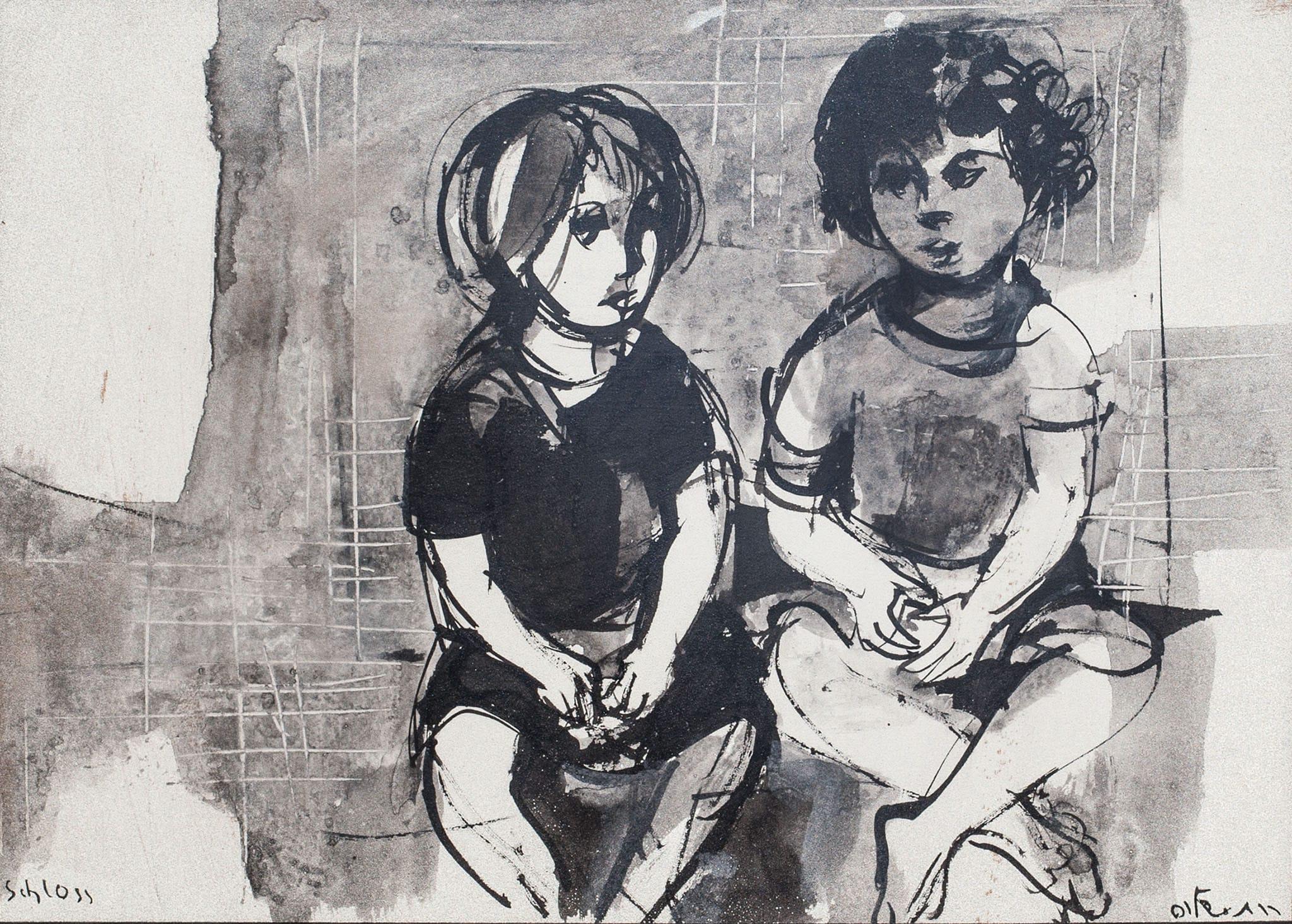 """רות שלוס, """"שתי ילדות"""", אקוורל ודיו על נייר, 47x33 ס""""מ"""