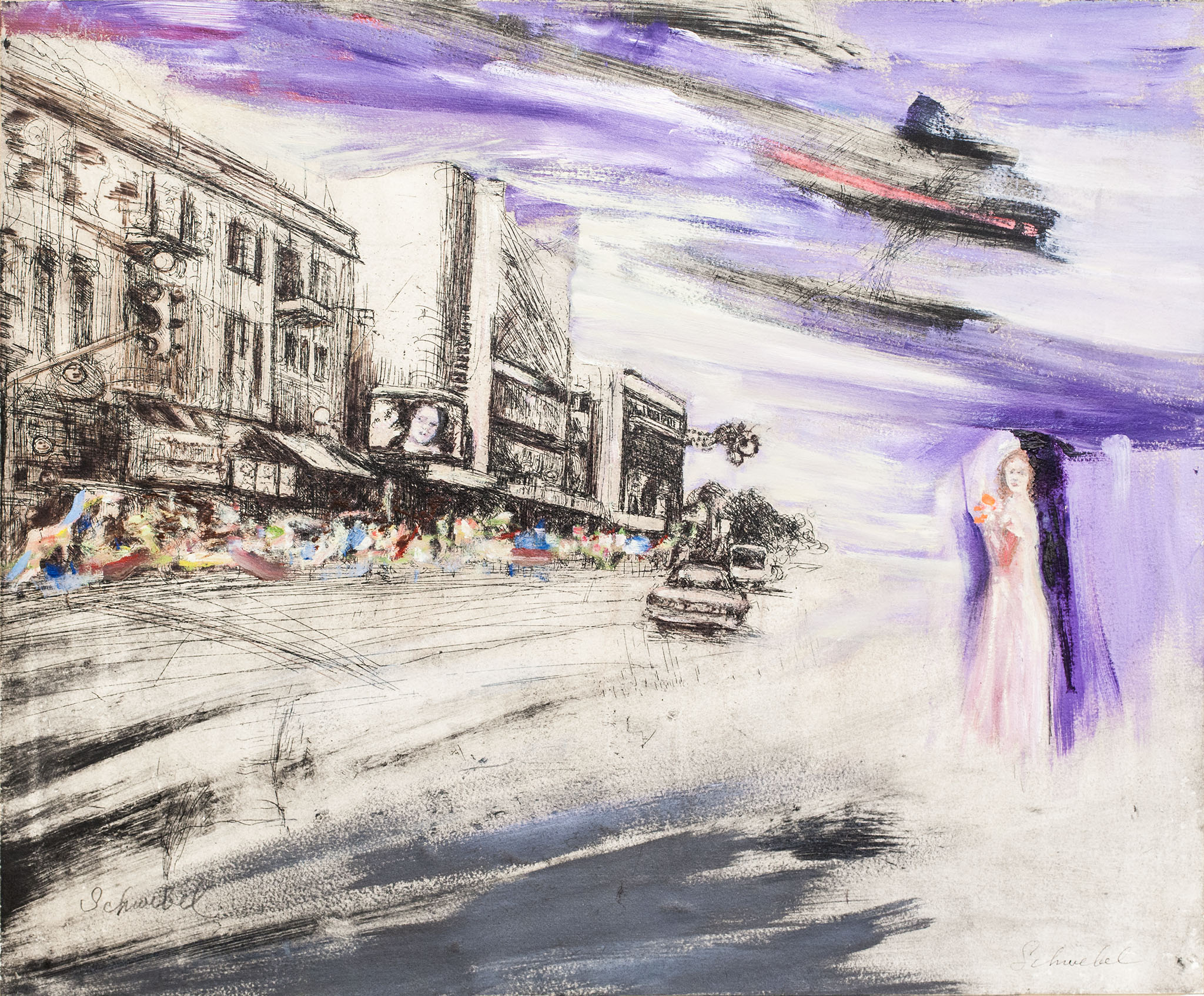 """איוון שוובל, """"קולנוע אלנבי"""", שמן ודיו על נייר מוצמד ללוח עץ, 58x48 ס""""מ"""