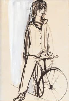 """רות שלוס, """"נערה עם אופניים"""", גואש ודיו על נייר, 38x55 ס""""מ"""