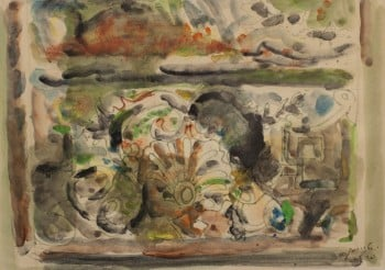 """יחזקאל שטרייכמן, """"פריז"""", אקוורל על נייר, 33x23 ס""""מ"""