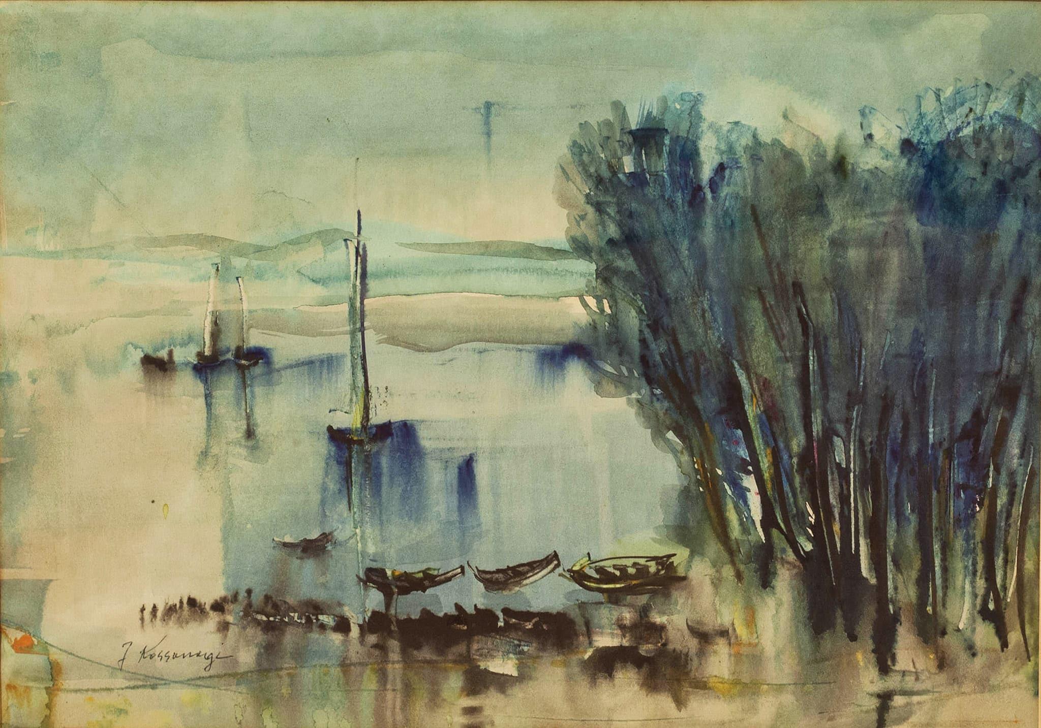 """יוסף קוסונוגי, """"סירות"""", אקוורל על נייר, 48x32 ס""""מ"""
