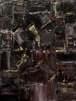 """אבשלום עוקשי, """"קומפוזיציה"""", שמן על בד, 61X46 ס""""מ"""