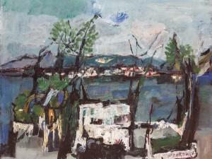 """צבי מאירוביץ, """"בית לבן על שפת הכנרת"""", שמן על בד, 50x60 ס""""מ"""