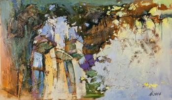 """אהרון קרביץ, """"עיר חמה 1"""", 2014, שמן על בד, 70x120 ס""""מ"""