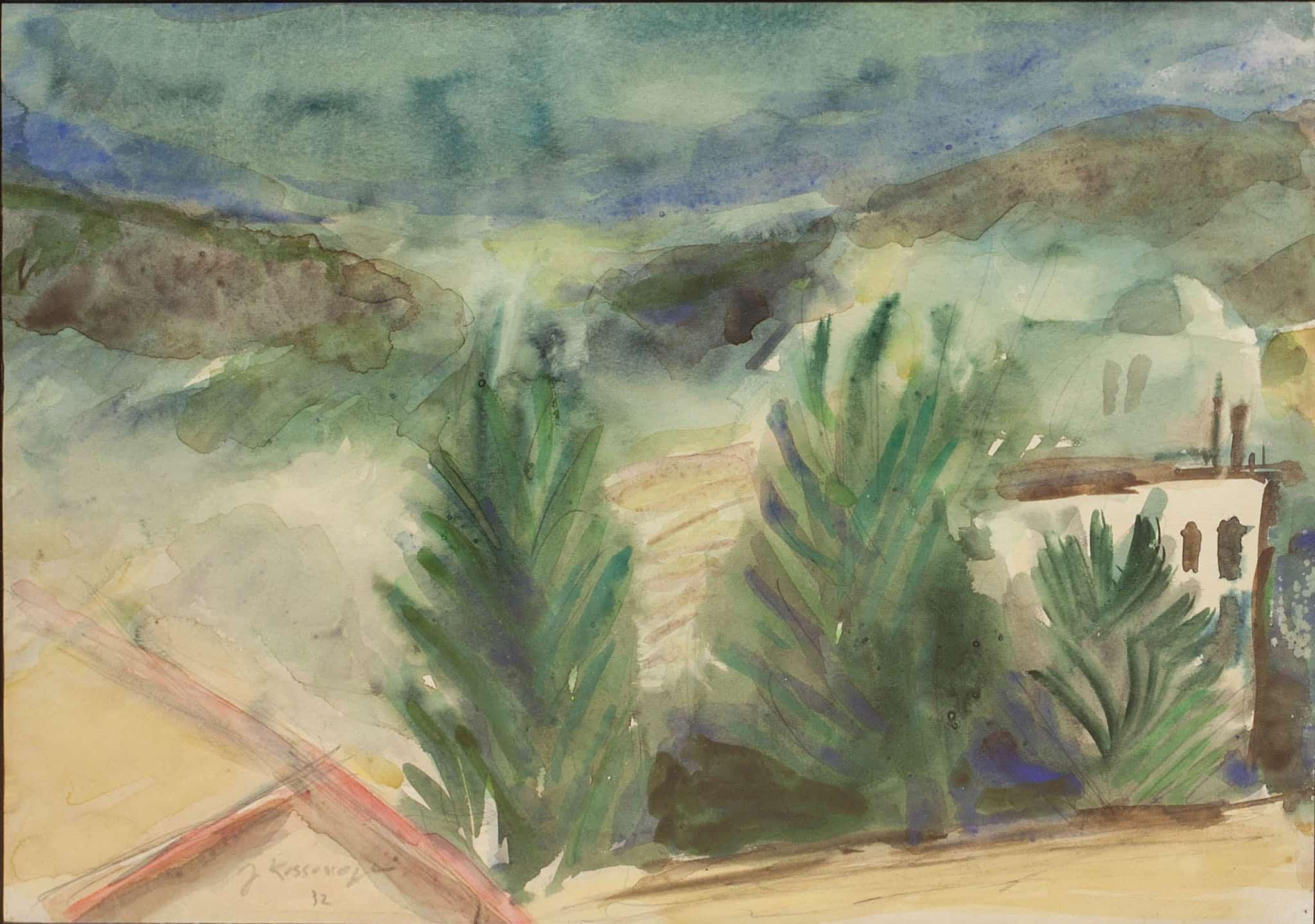 """יוסף קוסונוגי, 1932, אקוורל על נייר, 26x37 ס""""מ"""