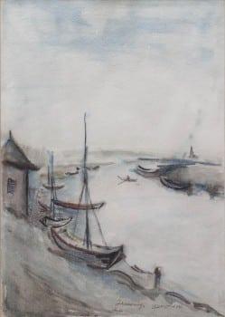 """יוסף קוסונוגי, """"סירות בנהר"""", 1944, צבעי מים על נייר, 25x35 ס""""מ"""