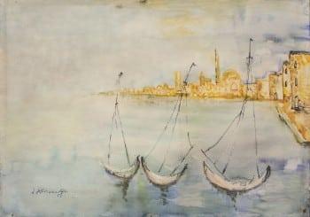 """יוסף קוסונוגי, """"עכו"""", אקוורל על נייר, 50x35 ס""""מ"""