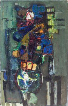 """צבי מאירוביץ, """"אגרטל"""", שמן על בד, 38x61 ס""""מ"""