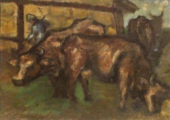 """משה קופפרמן, """"פרות בקיבוץ"""", שנות ה-50, שמן על בד מוצמד ללוח עץ, 31x22 ס""""מ"""