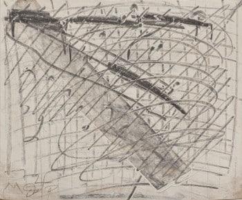 """משה קופפרמן, """"ללא כותרת"""", 1972, שמן ופחם על נייר, 23x19 ס""""מ"""