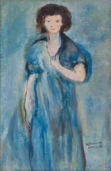 """יוסף קוסונוגי, """"דמות אישה"""", 1933, שמן על בד, 25x39 ס""""מ"""