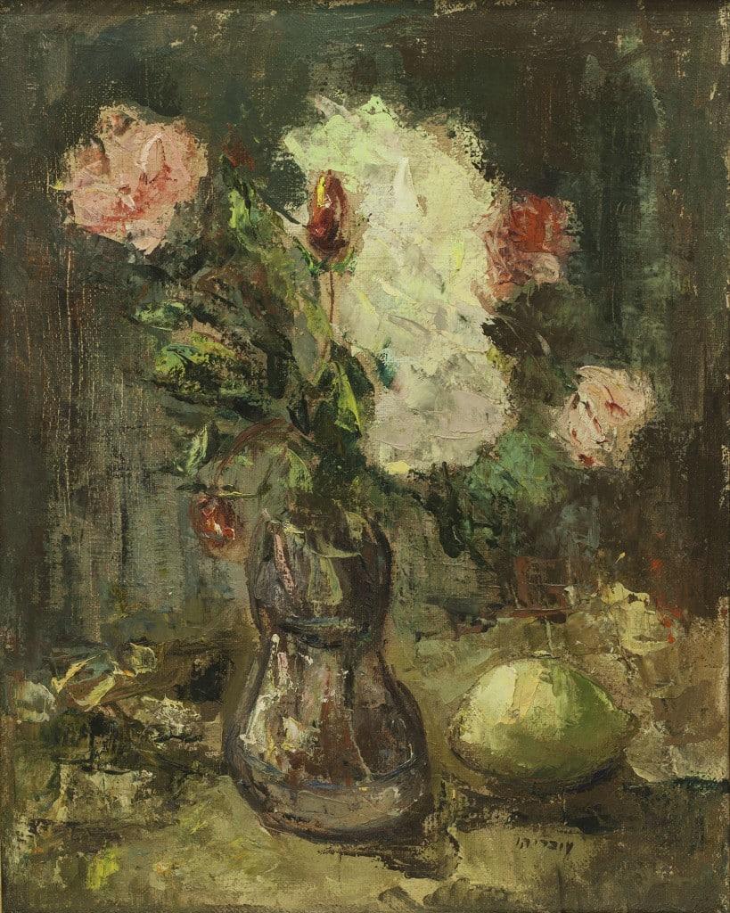 """שמואל עובדיהו, """"אגרטל פרחים"""", שמן על בד, 40x50 ס""""מ"""