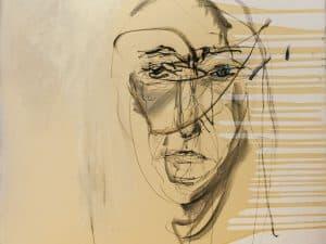 """מיכל שלי, """"דיוקן עצמי"""", 2011, שמן על בד, 100x100 ס""""מ"""