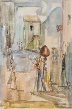 """יוסף קוסונוגי, """"צפת"""", 1958, אקוורל על נייר, 50x70 ס""""מ"""