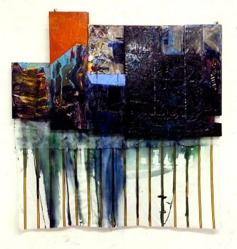 """בוקה גרינפלד, 2013, אקריליק וקולאז' על עץ ובד.  הוצג בתערוכה """"שוטטות בחומר"""", בית האמנים, 2014"""