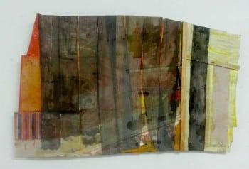 בוקה גרינפלד, 2013, אקריליק וגאזה על מעטפות נייר
