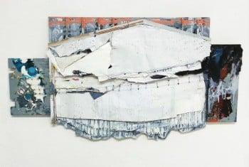 """בוקה גרינפלד, """"בית תלוש"""", נייר וטכניקה מעורבת על מתכת"""
