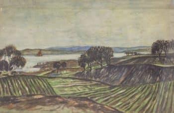 """אריה אלואיל, """"נוף הכנרת"""", אקוורל על נייר, 33x23 ס""""מ"""