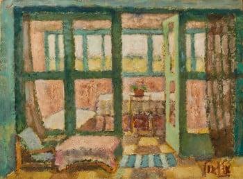 """אריה אלואיל, """"פנים חדר עם מפה ורודה"""", שמן על נייר מוצמד ללוח, 49X38 ס""""מ"""