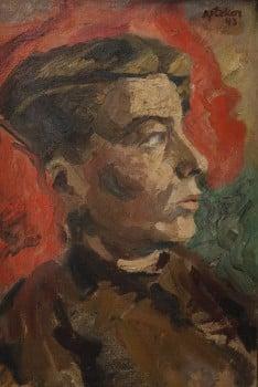 """חיים אתר, """"דיוקן"""", 1943, שמן על בד מוצמד לקרטון, 37X24 ס""""מ"""