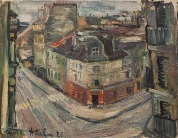 """ליאו קאהן, 1928, """"פריז"""", שמן על בד, 38X46 ס""""מ"""