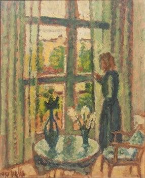"""אריה אלואיל, """"החלון"""", 1957, שמן על נייר מוצמד למזוניט, 45x55 ס""""מ"""