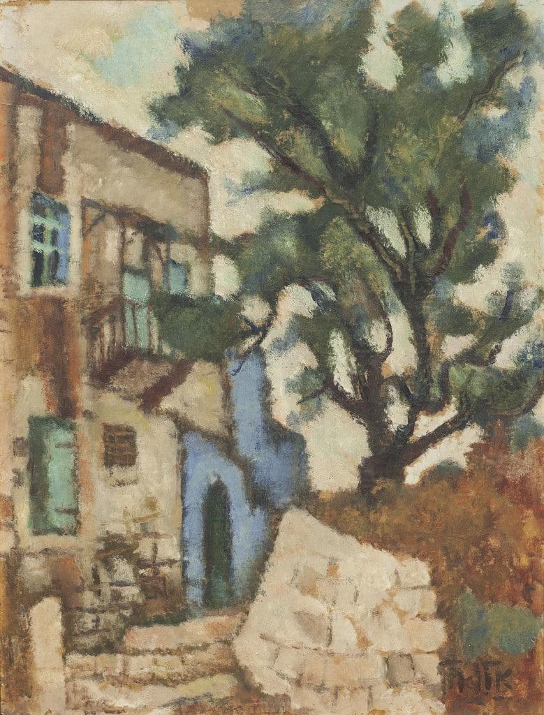 """אריה אלואיל, """"רחוב בצפת"""", שמן על נייר מוצמד ללוח עץ, 67x51 ס""""מ"""