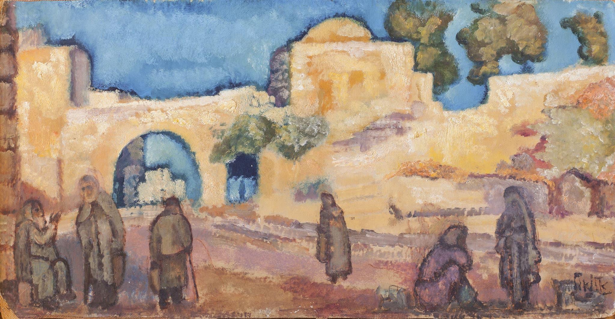"""אריה אלואיל, """"דמויות בשוק"""", שמן על נייר מוצמד למזוניט, 75x39 ס""""מ"""