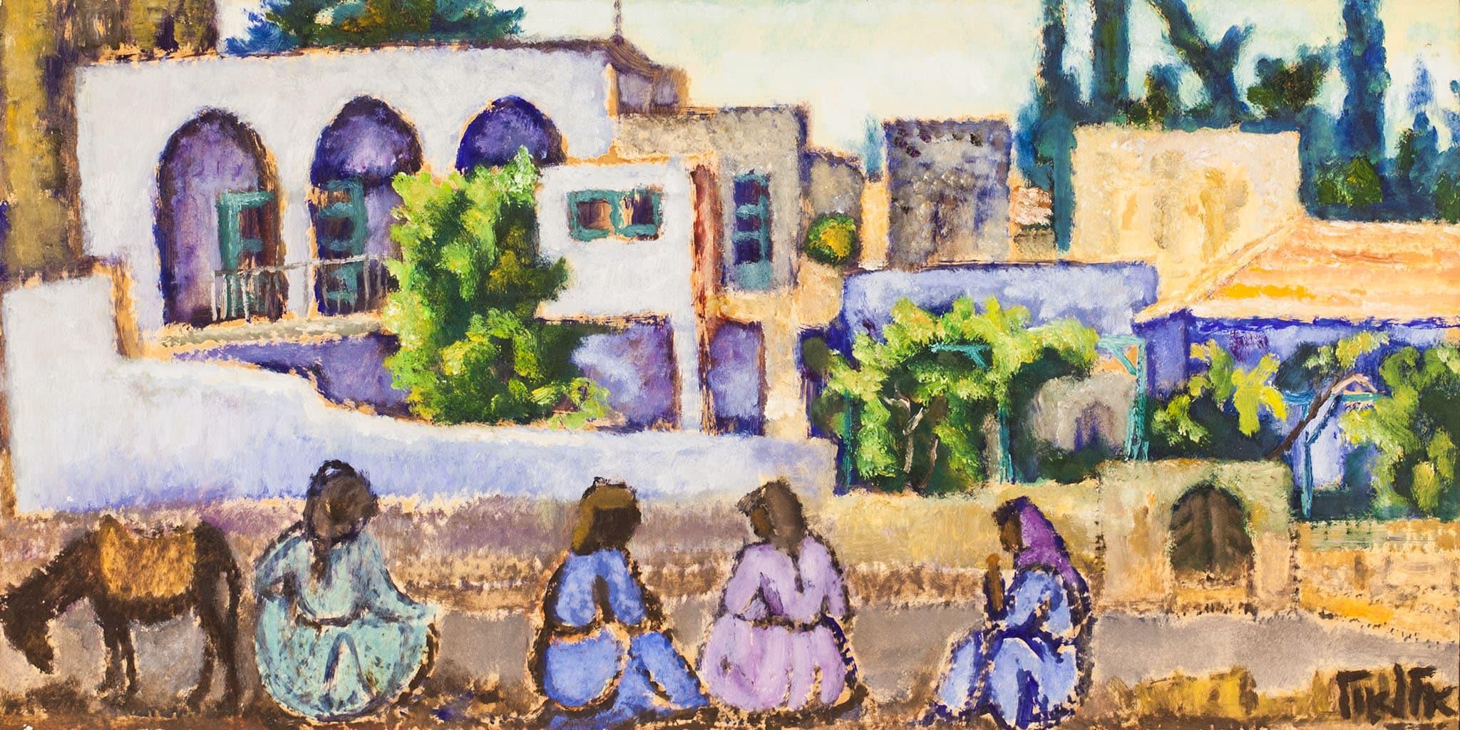 """אריה אלואיל, """"נשים בצפת"""", שמן על נייר מוצמד לעץ, 74x37 ס""""מ"""