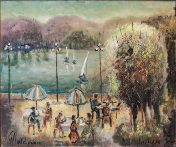"""אלברט גולדמן, """"קפה ליד אגם"""", שמן על בד, 60x50 ס""""מ"""