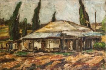 """צבי שור, 1947, שמן על בד, 27X40 ס""""מ"""