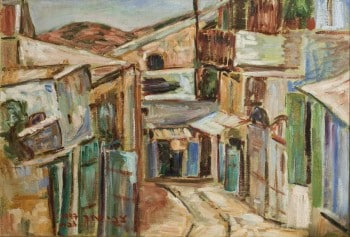"""צבי שור, """"צפת"""", 1947, שמן על בד, 36x53 ס""""מ"""