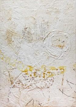 """אביבית בלס ברנס, 2001, """"ריח הזיכרון"""", אקריליק, קולאז' וטכניקה מעורבת על בד, 105x75 ס""""מ"""