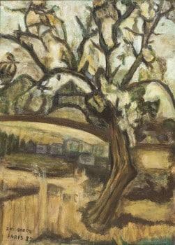"""צבי שור, """"פריז"""", 1937, שמן על בד, 47x34 ס""""מ"""