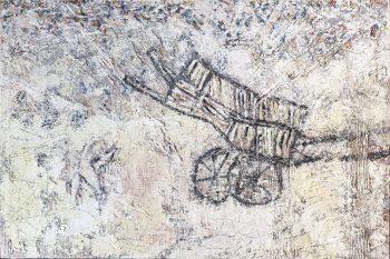 """אביבית בלס ברנס, """"חורטים"""", 2013, אקריליק, פסטל שמן, פסטל יבש, אבקת שפכטל, חול ועפרונות על עץ לבוד, 80x120 ס""""מ"""