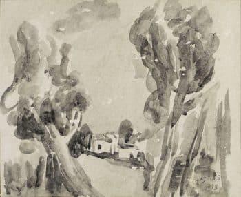 """צבי שור, """"פתח תקווה"""", 1938, אקוורל על נייר, 22x18 ס""""מ"""