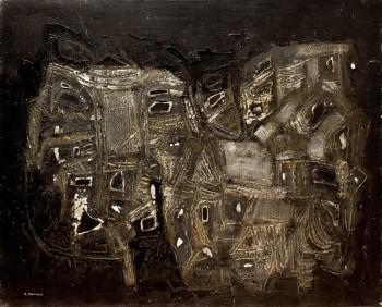 """אפרים מודזלביץ, 1969, פוליאסטר, שמן וטכניקה מעורבת על בד, 80x100 ס""""מ"""